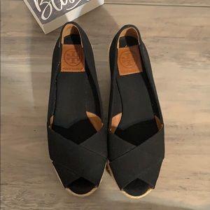Tory Burch black wedge shoes